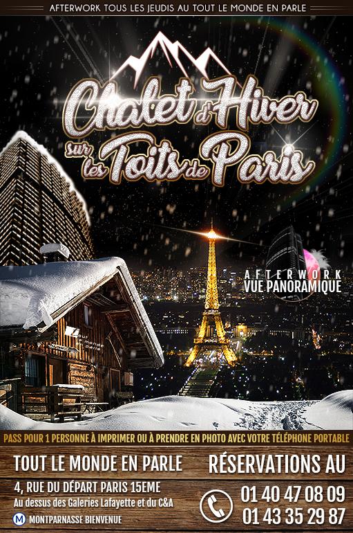 Afterwork Jeudi Chalet d'hiver sur les Toits de Paris au Tout le Monde en Parle